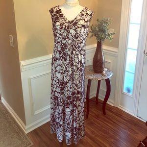 Jones New York Print Sleeveless Maxi Dress Medium